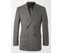 Archie Reid Slim-Fit Double-Breasted Prince of Wales Checked Wool Suit Jacket