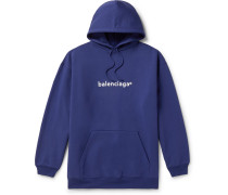 Oversized Logo-Print Loopback Cotton-Jersey Hoodie