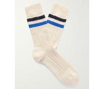 Bjarki Striped Ribbed Cotton Socks
