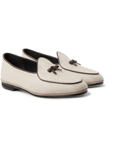 Spielraum Footaction Rubinacci Herren Marphy Leather And Suede-trimmed Linen Loafers Freies Verschiffen Erkunden snFSM5