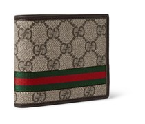 Monogrammed Coated Canvas and Leather Billfold Wallet