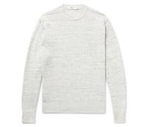 Slim-Fit Mélange Linen Sweater