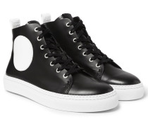 Chris Panelled Leather High-top Sneakers