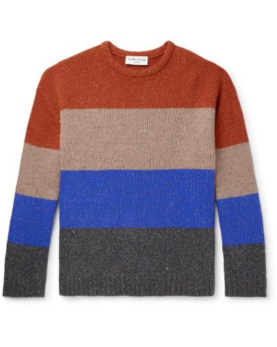 Colour-Block Mélange Wool-Blend Sweater