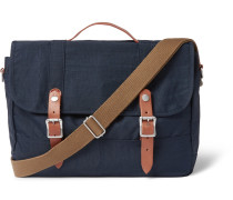 Harwick Leather-trimmed Canvas Messenger Bag