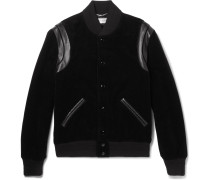Leather-trimmed Cotton-corduroy Bomber Jacket