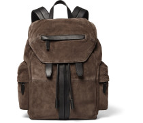 Marti Leather-trimmed Suede Backpack