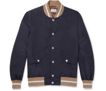 Contrast Ribbed Cotton Bomber Jacket