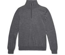 Mélange Wool Half-zip Sweater