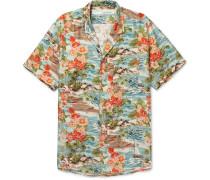 Camp-collar Printed Silk Shirt