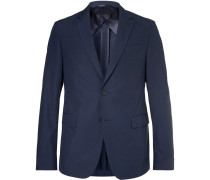 Navy Nobis Slim-fit Cotton-poplin Suit Jacket