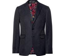 Black Slim-fit Slub Silk Blazer