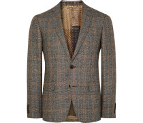 Brown Slim-fit Checked Silk And Wool-blend Blazer