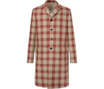 Appliquéd Checked Virgin Wool Coat