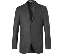 Charcoal K-jacket Slim-fit Wool Blazer