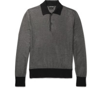 Contrast-trimmed Knitted Silk And Wool-blend Polo Shirt