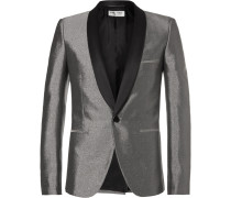 Silver Slim-fit Satin-trimmed Woven Tuxedo Jacket