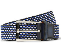 3cm Leather-trimmed Woven Cotton Belt