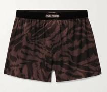 Velvet-Trimmed Zebra-Print Stretch-Silk Satin Boxer Shorts