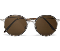 Round-frame Leather-trimmed Silver-tone Sunglasses