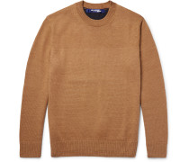 Two-tone Cashmere And Linen-blend Sweater