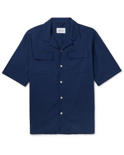 Camp-Collar Cotton-Blend Seersucker Shirt