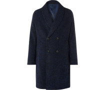 Shawl-Collar Double-Breasted Checked Alpaca-Blend Coat