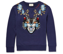 Angry Cat Embroidered Loopback Cotton-jersey Sweatshirt