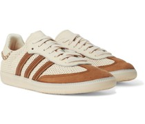 + Wales Bonner Samba Leather- and Suede-Trimmed Woven Sneakers