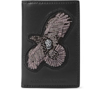 Embroidered Leather Bifold Cardholder