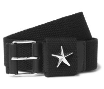 Star-embellished Leather-trimmed Canvas Belt