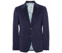 Blue Slim-fit Suede-trimmed Cotton-corduroy Blazer