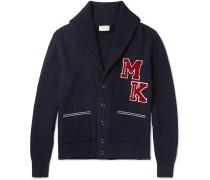 Shawl-collar Appliquéd Merino Wool Cardigan