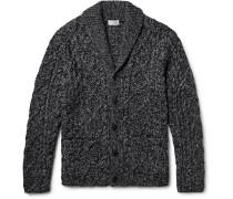 Shawl-collar Cable-knit Cardigan