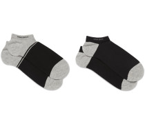 Two-pack Stretch Cotton-blend No-show Socks
