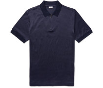 Jacquard-knit Cotton And Silk-blend Polo Shirt