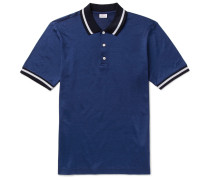 Slim-fit Contrast-tipped Cotton And Silk-blend Piqué Polo Shirt