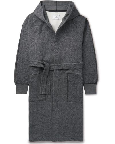Fleece-back Cotton-jersey Hooded Robe - Gray