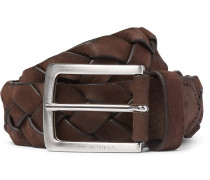 3.5cm Brown Braided Leather Belt