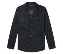 Camp-Collar Piped Printed Cotton Pyjama Shirt