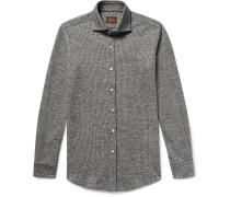 Slim-fit Puppytooth Virgin Wool And Cotton-blend Shirt