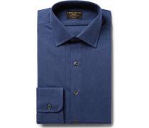 Blue Slim-fit Herringbone Brushed-cotton Shirt
