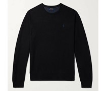 Logo-Embroidered Honeycomb-Knit Cotton Sweater