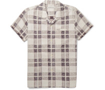 Camp-collar Checked Organic-cotton Shirt