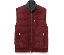 Reversible Cashmere-trimmed Suede And Shell Down Gilet