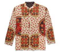 Reversible Grandad-collar Printed Cotton Shirt