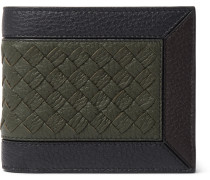 Intrecciato-trimmed Full-grain Leather Billfold Wallet