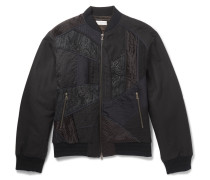 Embroidered Panelled Cotton And Linen-blend Bomber Jacket