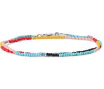 Glass Bead Silver-tone Wrap Bracelet