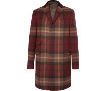 Velvet And Calf Hair-trimmed Plaid Wool-blend Coat